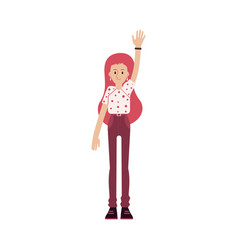 Young smiling red haired woman in a tshirt and vector