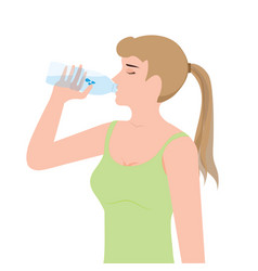 Young woman drinking water from plastic bottles vector
