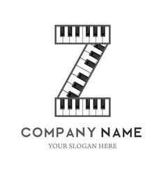 Z letter logo design piano keyboard logo vector