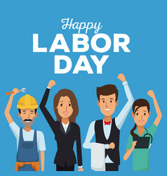 color card of happy labor day with people of vector image