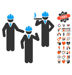 engineer persons discussion icon with dating bonus vector image vector image