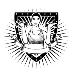 fitness woman shield vector image