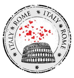 Grunge love heart stamp with Colosseum and the vector image