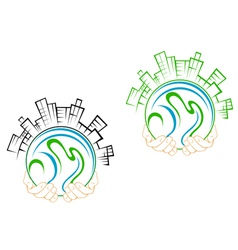 Our green earth planet in people hands vector image