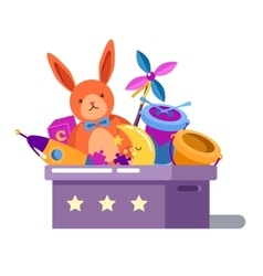 Toy box or chest with rabbit doll and rocket vector image vector image