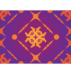 Yellow ornament on purple background vector image vector image