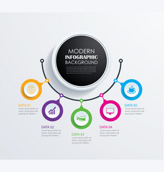 abstract 5 circle infographics number options vector image