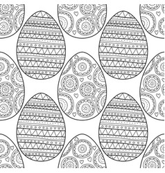 decorative easter eggs black and white seamless vector image