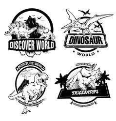 Dinosaurs Black White Emblems vector image