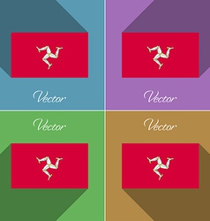 Flags Isle of man Set colors flat design and long vector image vector image