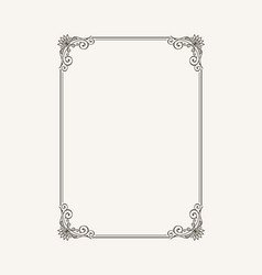 vintage calligraphic frame black and white vector image vector image