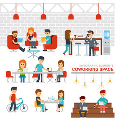 coworking space infographic elements flat vector image vector image