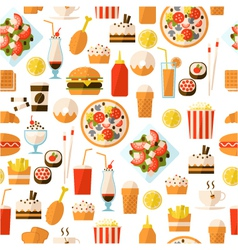 Seamless pattern with fast food and drink vector