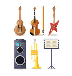 Set icon music instruments amplifier and music vector