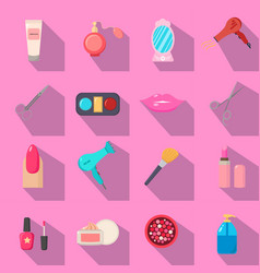 Beauty salon set of cartoon icons black vector