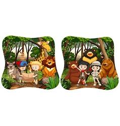 Children and wild animals in jungle vector