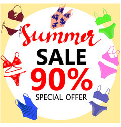 summer sale big discounts flyer template hand vector image vector image