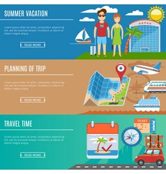 Vacation And Travel Flat Banners Set vector image vector image
