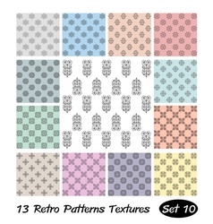 13 Retro Patterns Textures Set 10 vector image