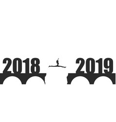 A woman jump between 2018 and 2019 years vector