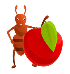 Ant red apple icon cartoon style vector