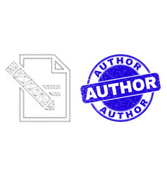 Blue scratched author stamp seal and web mesh edit vector