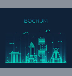 bochum skyline germany city linear style vector image