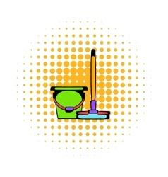Bucket with a mop comics icon vector image vector image