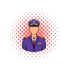 Captain of the aircraft icon comics style vector image
