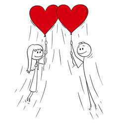 cartoon couple man and woman in love flying vector image