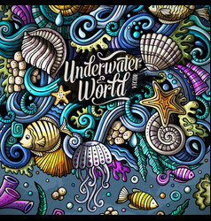 Cartoon hand-drawn doodles underwater life vector