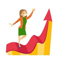 caucasian business woman running on profit chart vector image