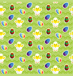 Chick in eggshell easter eggs seamless vector