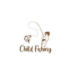 child fishing hand drawn vector image