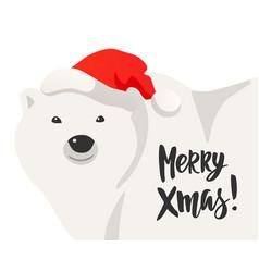 Christmas card of white polar bear vector