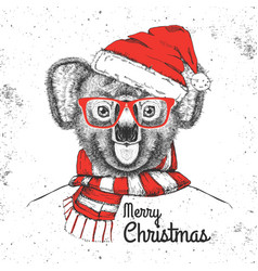 Christmas hipster fashion animal koala vector