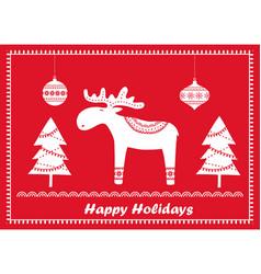 christmas scandinavian greeting card vector image