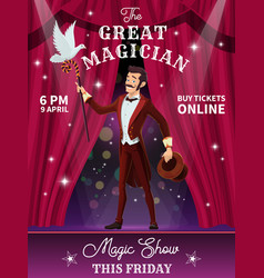Circus flyer with magician performer character vector