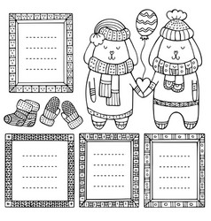 Collection doodle black winter borders vector