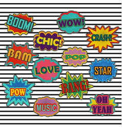 Comic patch sound effects in pop art style vector