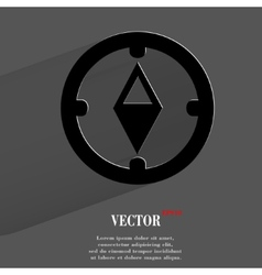 Compass Flat modern web button with long shadow vector image