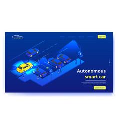 concept web banner with autonomous smart car vector image