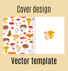 Cover design with forest mushrooms pattern vector