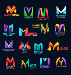 Creative color design corporate identity m icons vector