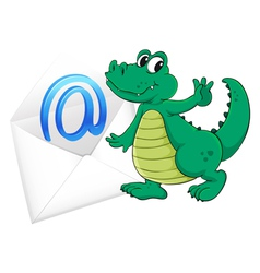 Crocodile with mail envelope vector