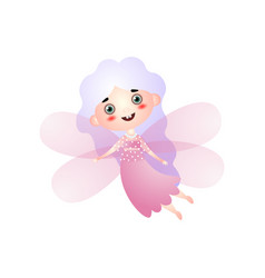 cute girl in fairy costume with pink wings flying vector image
