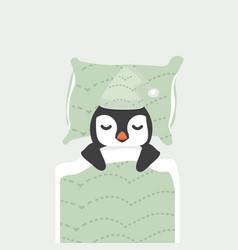 Cute penguin sleeping cartoon vector