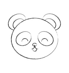 cute sketch draw panda bear face vector image