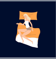 cute woman cartoon character sleeping on bed flat vector image