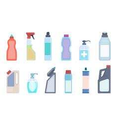 detergent bottles cleaning supplies in plastic vector image